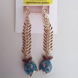 Betsey Johnson New Blue Fish Scale Earrings